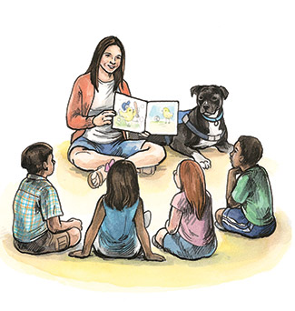 Illustration of Heidi & Reed reading to kids